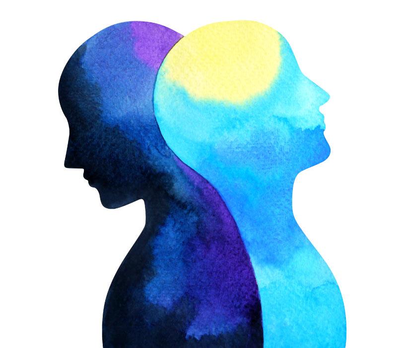 Mental health mind connection symbol 2 heads